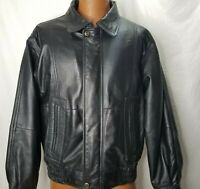 Leather Jacket Black Size Medium Quilted Motorcycle Cafe Racer William Barry