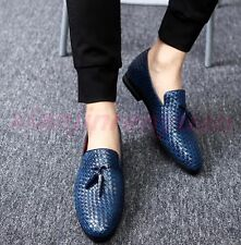 Korean Men's Shoes Woven Slip On British Style Tassels Round Toe Loafers Oxfords