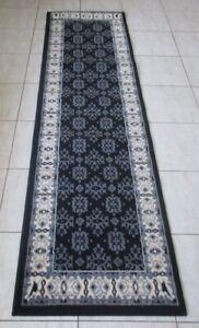 NEW BLACK TRADITIONAL PERSIAN DESIGN FLOOR HALL HALLWAY RUNNER RUG 60X230CM