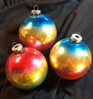 3 Vintage Christmas Ornaments Mercury Glass Bulbs Blue Gold Pink Made in USA