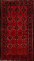 Vintage Geometric Balouch Afghan Hand-Knotted Area Rug Oriental Red Carpet 4x7