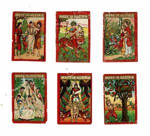 Set of 6 Old Austria SOLO c1911 used matchbox labels depicting Mythology.
