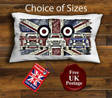 Mini Cooper Rectangular Cushion Cover, Mini, Union Jack, Mod Target,