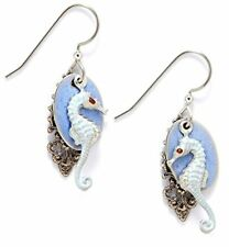Silver Forest Baby Blue Seahorse Drop Earrings