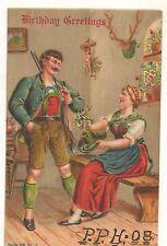 Birthday Greetings, German Hunter, Trophy, Wife Vintage Hunting Postcard