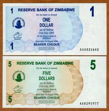 SET Zimbabwe, 1;5 dollars, 2006, P-37-38, AA-Prefix, UNC