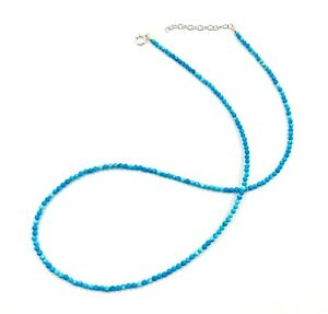 Genuine Blue Turquoise 925 Silver Necklace Jewelry Women Handmade USA SELLER