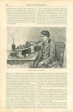 Phonographe de Thomas Edison à New-York USA GRAVURE ANTIQUE OLD PRINT 1889