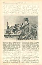 Phonographe de Thomas Edison à New-York USA GRAVURE ANTIQUE OLD PRINT 1889