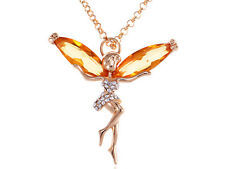 Gold Tone Orange Topaz Colored Stone Fairy Pendant Chain Necklace