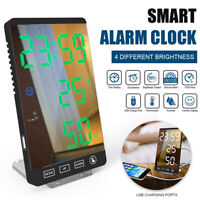Digital Alarm Clocks Travel Clock LED Mirror Touch Button Clock Thermometer ONY