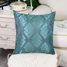 2pcs Teal Cushion Covers Pillow Shell Damask Shining Dull Contrast Decor 45x45cm