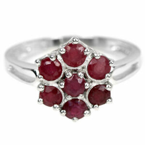 BEAUTIFUL STERLING BLOOD RED RUBY CLUSTER RING SZ P