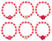 12 Pink Wooden Bead Bracelets - Pinata Toy Loot/Party Bag Fillers Wedding/Kids