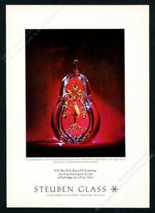 1968 Steuben Glass crystal pear with gold partridge photo Xmas vintage print ad