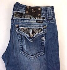 Miss Me Women's Boot Cut Denim Jeans w/ Gem Studded M Flap Pkts 30 x 34 Q18054