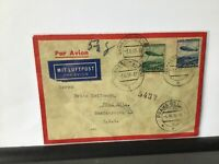 Germany 1936 Gernsheim Hess to Prague Zeppelin airship stamps cover  Ref R28151