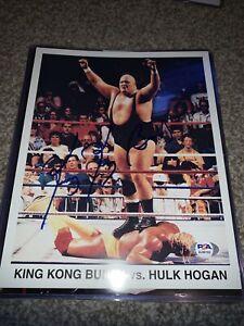 King Kong Bundy Signed 8x10 Photo vs. Hulk Hogan Psa COA WWF Legend Auto Rare