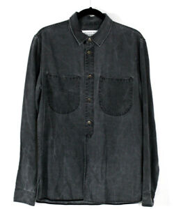 MAISON MARGIELA Gray Lyocel Chambray Button Front Long Sleeve Shirt 48