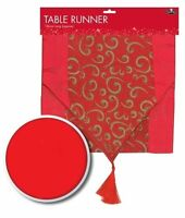 CHRISTMAS FESTIVE SATIN / GLITTER FINISH TABLE RUNNER PARTY XMAS DECORATION NEW
