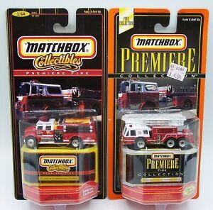 "2X ""MATCHBOX"" PREMIERE **FIRE ENGINES** FORT WAYNE INDIANA MIAMI FL MOC"