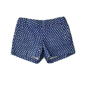 J. Crew City Fit shorts style 37571 blue white printed GUC size 4 Stretch