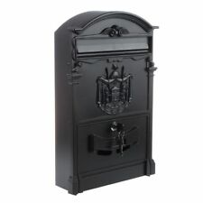 Heavy Duty Black Aluminium Lockable Secure Mail Letter Post Box FP