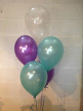 30 Purple, Aqua and 'Happy Birthday' Range Pearlised Latex Balloons
