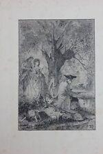Maurice Buisson (XX.Jh.) - Beim Angeln, Federlithographie