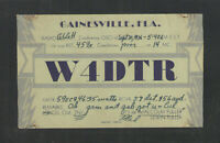 1936 W4DTR QSL CARD GAINESVILLE FLORIDA USED USA