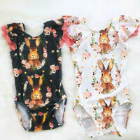 Newborn Toddler Baby Girl Boy Ruched Easter Rabbit Bunny Romper Bodysuit Clothes