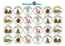 24 x 4cm Christmas Edible CupCake Toppers Rice, Wafer, Icing or precut design 15
