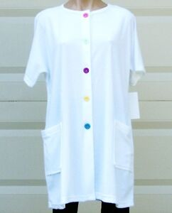 White Cotton/Poly Short Sleeve Terry Cloth Cover Up/Robe w/Pockets -Plus Size 2X