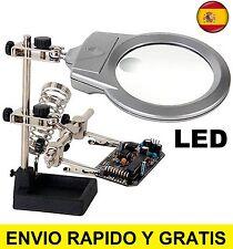 LUPA DE PRECISION CON PINZAS Y SOPORTE LUZ LED POWERFIX, TERCERA MANO