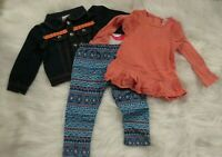 Nannette Girls 3 Piece Outfit 24 mo 2T Tunic Leggings Jean Jacket Set NWT