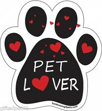Pet Lover Paw Print Magnet with Red Hearts