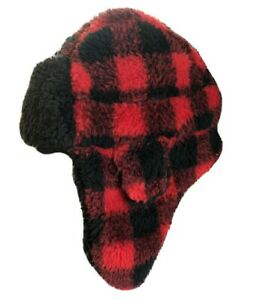 NWT Gap S/M Toddler Boys Red & Black Buffalo Plaid Sherpa Trapper Hat