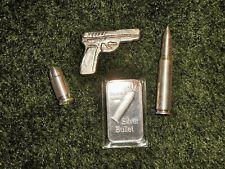 SWEET BULLION SILVER BULLET AND PISTOL LOT 2 oz  and 1 oz  PIECES, 9mm, AR
