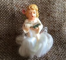 Vintage German Angel Carrying Songbook, Angel Hair Clouds, Christmas Ornament