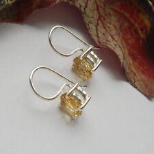 Citrin, oval, gelb schlicht, modern Ohrringe, Ohrhänger, 925 Sterling Silber neu