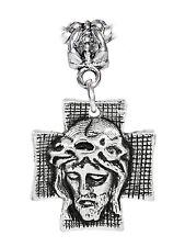 Face of Jesus on the Cross Crucifix Head Dangle Bead for European Charm Bracelet