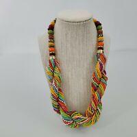 Rainbow Beaded Necklace Gold Tone Twisted Statement Orange Tribal Ethnic