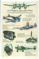 Lockheed P-38 Lightning, World War II Military Aircraft Plane Technical Postcard