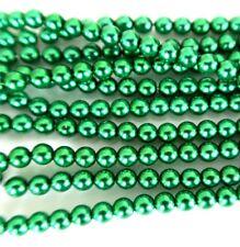 Navidad Verde 4mm ronda granos checas de VIDRIO PERLADO de Pulido X 25