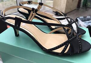 Clarks Silk Vine Black Satin Diamante Slingback Kitten Heel Party Sandal UK 5E