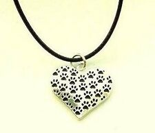Paw Print Dog Cat Heart Necklace Black Cord Silver PL