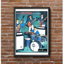 Musical Instruments Poster - Drums Electric Guitar Bass Guitar Amps Silvertone