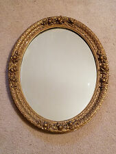Antique Wall Mirror Ornate Oval Wood Frame Decorative Gold Gesso