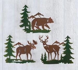 Set of 3 Rustic Deer Bear Moose Metal Wall Hangings Lodge Cabin Home Decor