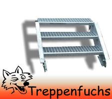 3 Stufen Stahltreppe Breite 90 cm Geschosshöhe 40-60cm inkl. Zubehör